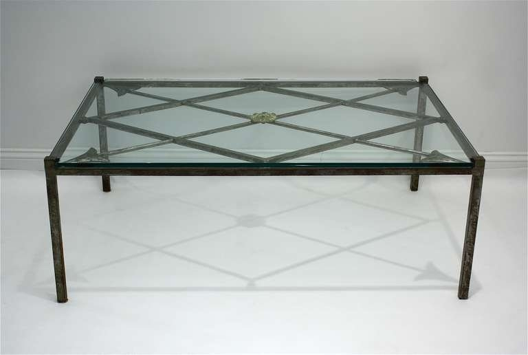 Fantastic Famous Iron Glass Coffee Table Throughout French Iron Base Coffee Table With Glass Top For Sale At 1stdibs (Image 20 of 50)