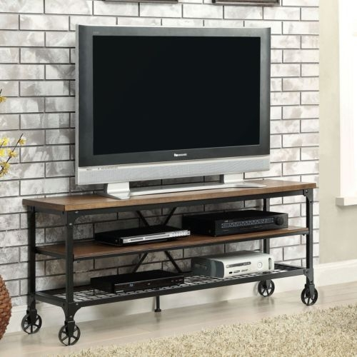 Fantastic Famous Metal And Wood TV Stands Pertaining To Rustic Tv Stand Industrial Oak Wood Metal Storage Shelf Media (Image 11 of 50)