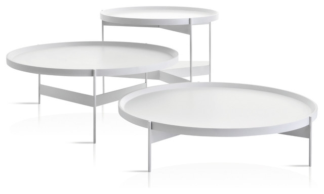 Fantastic Famous Oval White Coffee Tables Intended For Abaco Modern Round Cocktail Table Portable Tray Contemporary (Image 16 of 50)