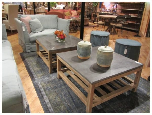 Fantastic Famous Square Shaped Coffee Tables Pertaining To Square Shape Coffee Tables Below Gray Color Stone Table Top (Image 15 of 50)