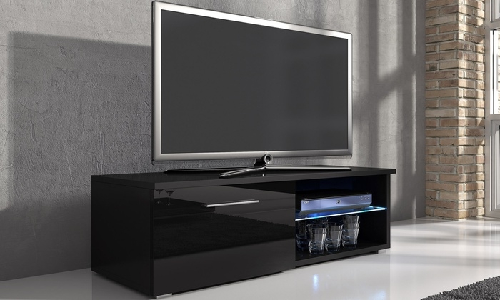 Fantastic Fashionable Black TV Cabinets With Doors Inside Samuel Tv Cabinet With Led Groupon Goods (Image 21 of 50)