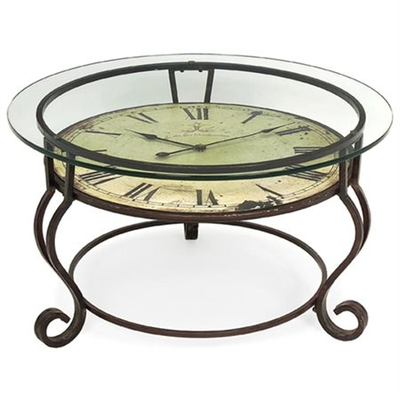 Fantastic Fashionable Coffee Tables With Clock Top Pertaining To 17 Scrolling Wrought Iron Glass Top Coffee Table With Vintage (Image 16 of 40)