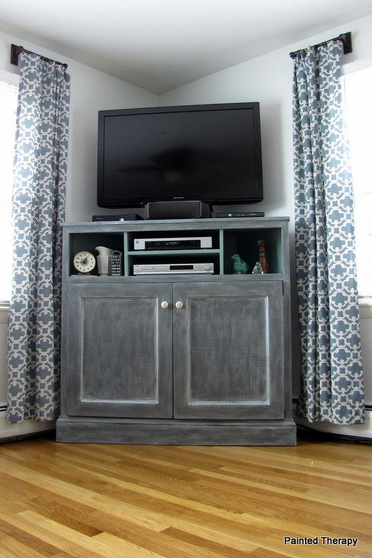 Fantastic Fashionable Grey Corner TV Stands With Regard To Ana White Tall Corner Media Console Diy Projects (View 12 of 50)