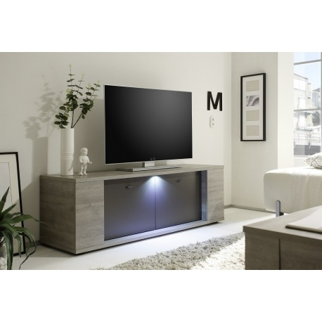 Fantastic Fashionable Grey Wood TV Stands With Regard To Palermo Small Tv Stand In Oak Grey With Led Lights Tv Stands (Image 22 of 50)