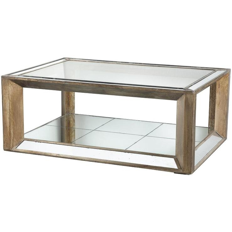 Fantastic Fashionable Mirrored Coffee Tables Inside Champagne Distressed Wood Glass Mirrored Coffee Table (View 28 of 50)