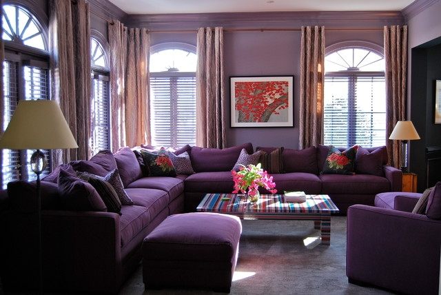 Fantastic Fashionable Purple Ottoman Coffee Tables Throughout Furniture Modern Purple Living Room With Grey Leather Sofa Feat (Image 9 of 40)