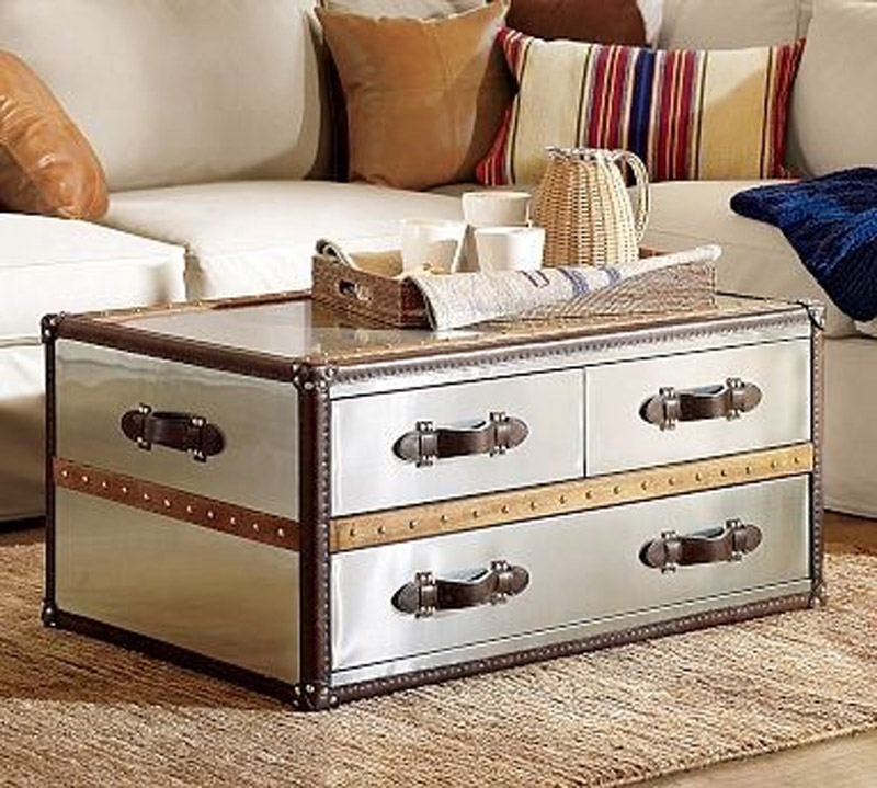 Fantastic Fashionable Silver Trunk Coffee Tables Pertaining To Living Room The Steamer Trunk Coffee Table Roselawnlutheran (Image 15 of 40)