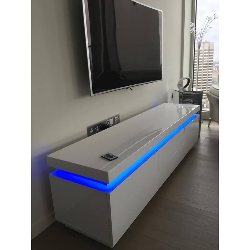 Fantastic Fashionable TV Stands With LED Lights Within Avanti Gloss Tv Stand With Rgb Lights Tv Stands Sena Home (Image 20 of 50)