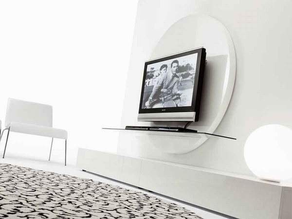 Fantastic Fashionable White Glass TV Stands Inside Furniture Interior Design With Cream Rug Near White Chair Also (Image 25 of 50)