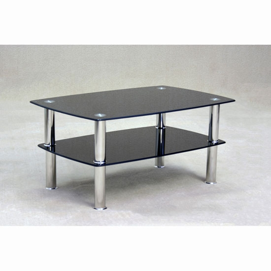 Fantastic Favorite Black Glass Coffee Tables Intended For Pearl Rectangular Coffee Table In Black Glass With (Image 24 of 50)