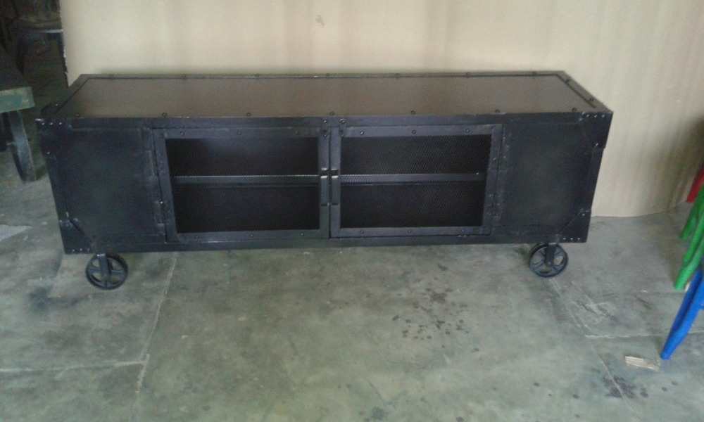 Fantastic Favorite Industrial TV Stands Within Industrial Style Furniture Black Metal Tv Standrecycle Black (Image 18 of 50)