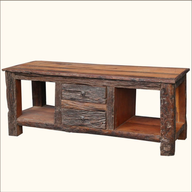 Fantastic Favorite Rustic Wood TV Cabinets With Furniture Rustic Wood Flat Screen Tv Stand Having Two Drawer And (View 32 of 50)