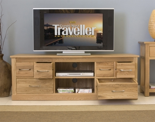 Fantastic Favorite Widescreen TV Cabinets Regarding Mobel Oak Widescreen Television Cabinet Oak Furniture Solutions (View 5 of 50)