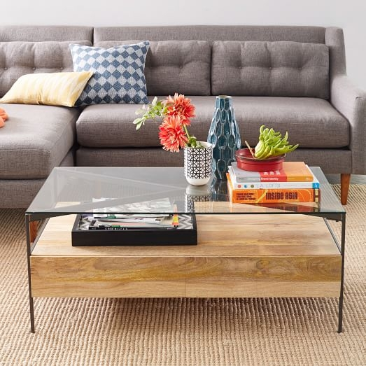 Fantastic High Quality Glass Coffee Tables With Storage Intended For Glass Topped Industrial Storage Coffee Table West Elm (Image 15 of 50)