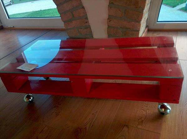 Fantastic High Quality Red Coffee Table Regarding Pallet Coffee Table With Glass Top And Wheels 101 Pallets (Image 20 of 50)