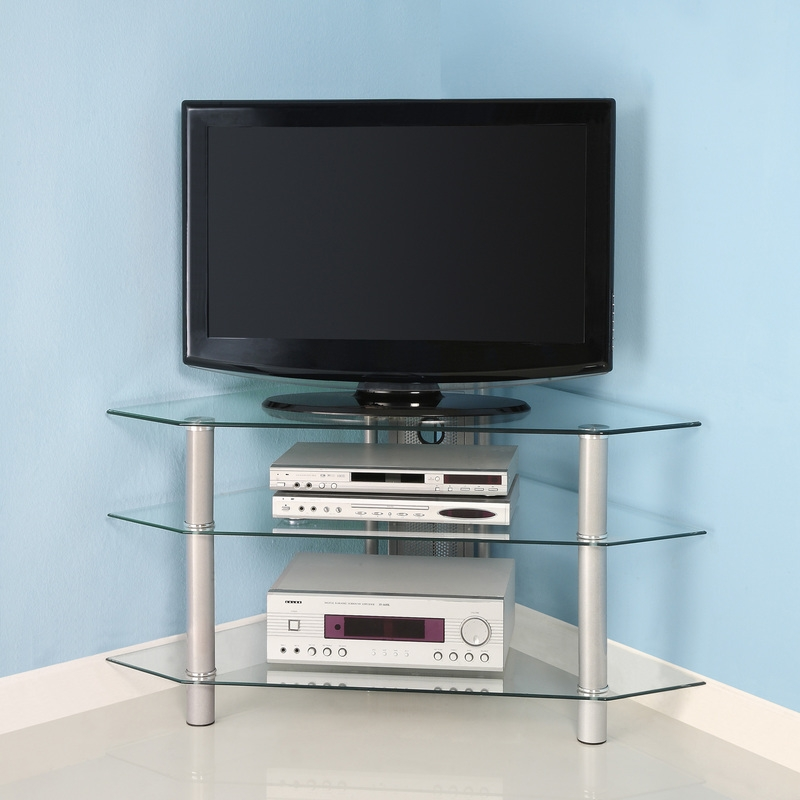 Fantastic High Quality Silver Corner TV Stands For Metal Tv Stands (Image 22 of 50)