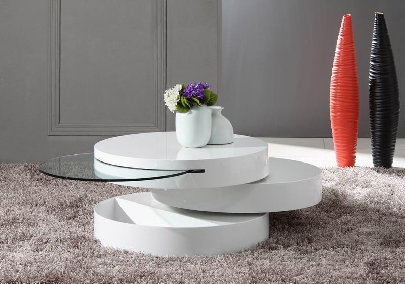 Fantastic High Quality Swivel Coffee Tables Pertaining To Modern White Swivel Coffee Table (View 2 of 50)