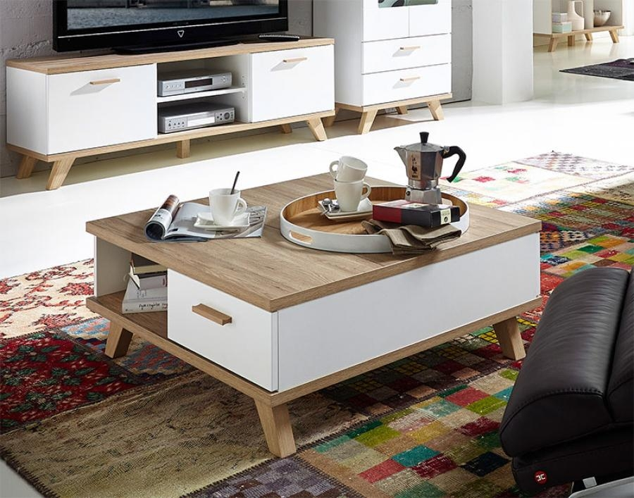 Fantastic High Quality White And Oak Coffee Tables Within Contemporary Germania Oslo Oak And White Coffee Table With Drawer (Image 20 of 50)