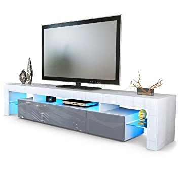 Fantastic High Quality White High Gloss TV Stands Intended For Tv Stand Unit Lima V2 Carcass In White Front In Grey High Gloss (Image 25 of 50)