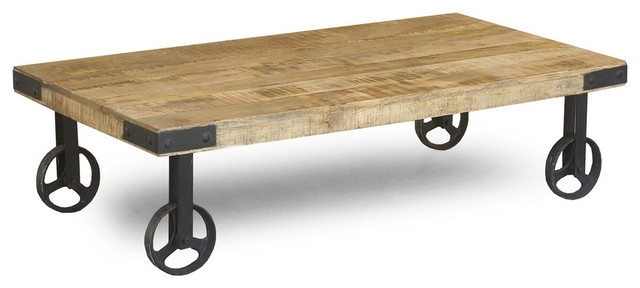 Fantastic Latest Coffee Tables With Wheels Intended For Pretty Industrial Coffee Table With Wheels On Industrial Style (View 37 of 40)