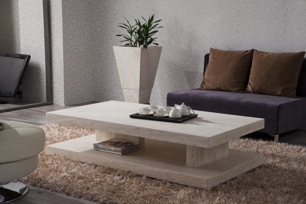 Fantastic Latest Grey Coffee Table Sets Pertaining To Natural Round Stone Coffee Table (Image 23 of 50)