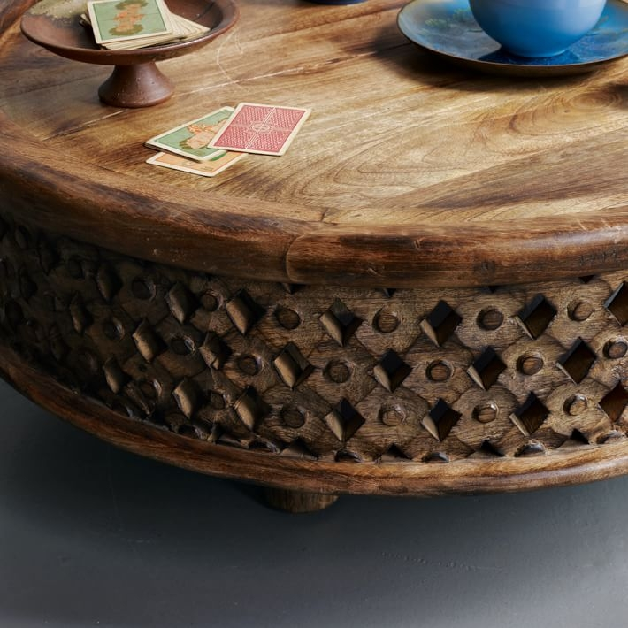 Fantastic Latest Mango Wood Coffee Tables Throughout Carved Wood Coffee Table West Elm (Image 16 of 50)