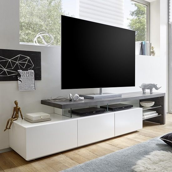 Fantastic Latest Modern TV Stands Throughout Alanis Modern Tv Stand In Concrete And Matt White With Storage (View 19 of 50)