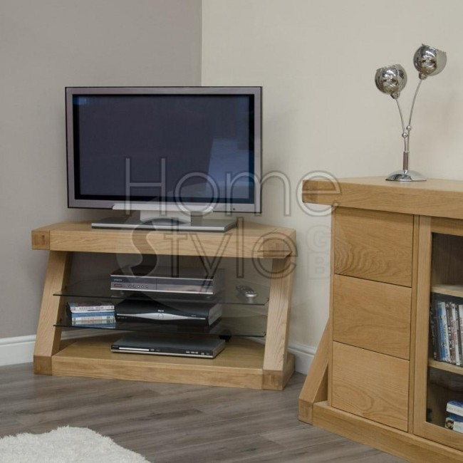Fantastic Latest Oak Corner TV Cabinets With Homestyle Z Designer Solid Oak Corner Tv Unit From The Bed Station (View 33 of 50)