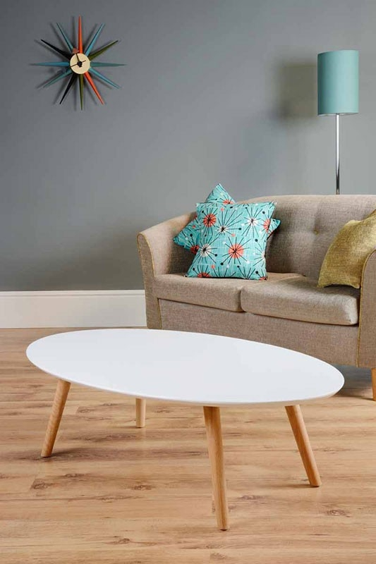 Fantastic Latest Oval White Coffee Tables With Regard To Oval White Coffee Table With Wooden Legs (Image 17 of 50)