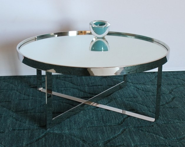 Fantastic Latest Round Chrome Coffee Tables In Large Round Chrome Coffee Table With Mirror Top  (Image 12 of 50)