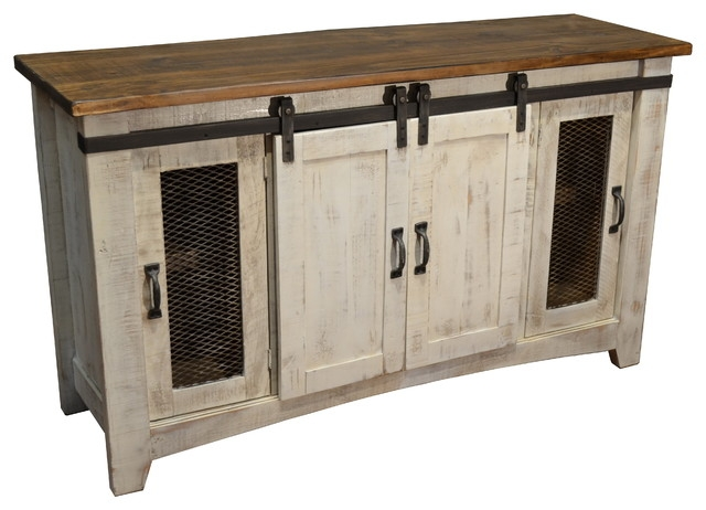 Fantastic Latest Rustic White TV Stands Pertaining To Bayshore Tv Stand White Farmhouse Buffets And Sideboards (Image 24 of 50)