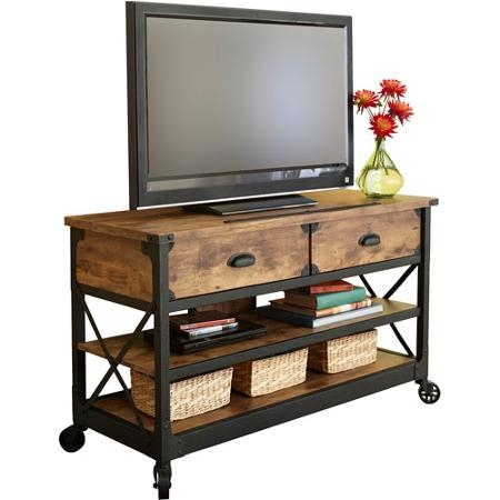 Fantastic Latest Rustic Wood TV Cabinets Regarding Tv Stand Rustic Table Console Media Cabinet Pine Metal Living Room (View 18 of 50)