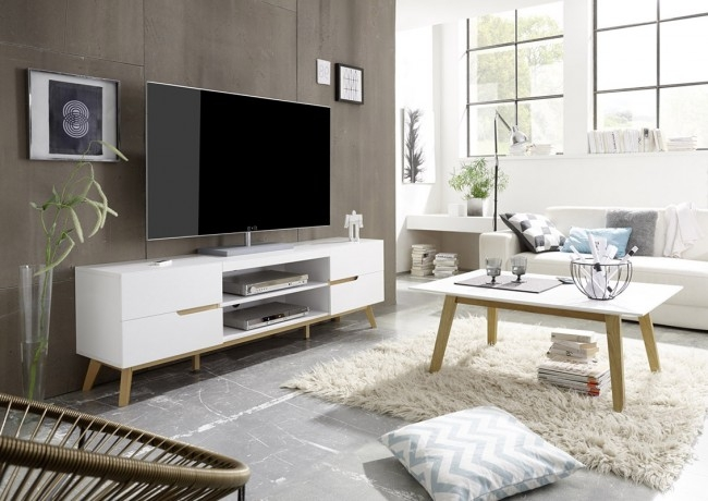 Fantastic Latest Scandinavian TV Stands Pertaining To Jacob Scandinavian Tv Unit With Oak Legs Funiquecouk (Image 19 of 50)