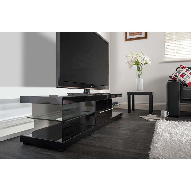 Fantastic Latest Techlink TV Stands Throughout Techlink Echo Xl Series 75 In Tv Stand High Gloss Black Ec150b (Image 20 of 50)