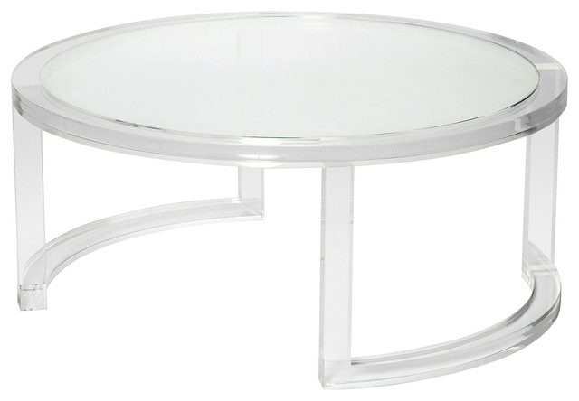 Fantastic Latest Transparent Glass Coffee Tables With Regard To Ava Modern Round Clear Glass Acrylic Coffee Table Modern (Image 15 of 50)