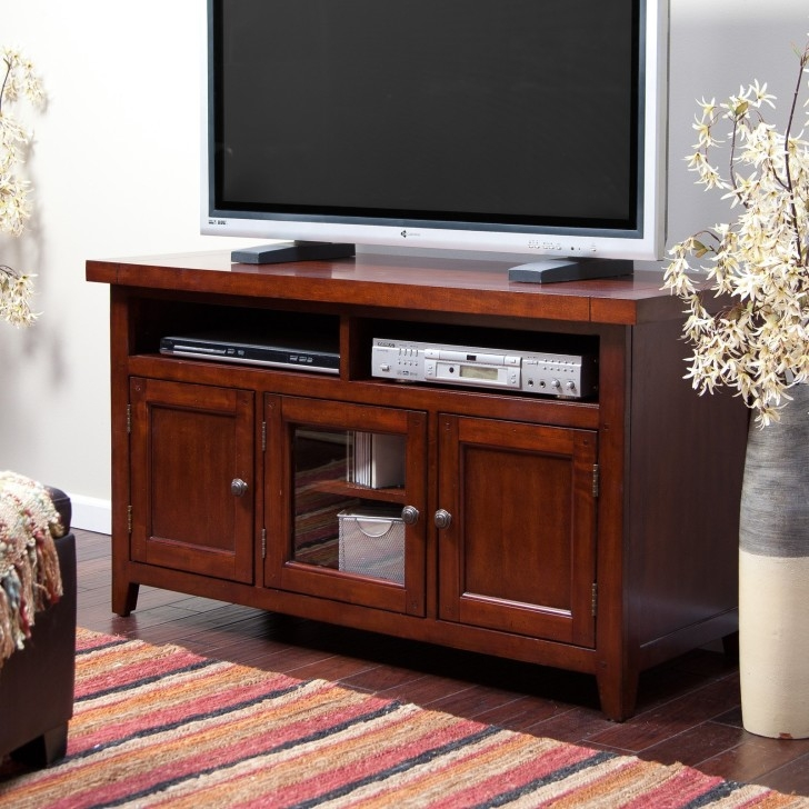 Fantastic New Cherry Wood TV Stands With Regard To Light Brown Wooden Tv Stand With Two Shelves On The Middle Between (Image 9 of 50)