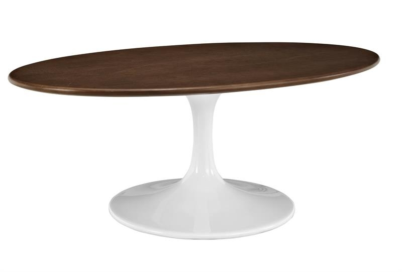 Fantastic New Coffee Tables With Oval Shape Pertaining To Saarinen Walnut Oval Coffee Table Flower 42 Oval Shaped Walnut (Image 14 of 50)