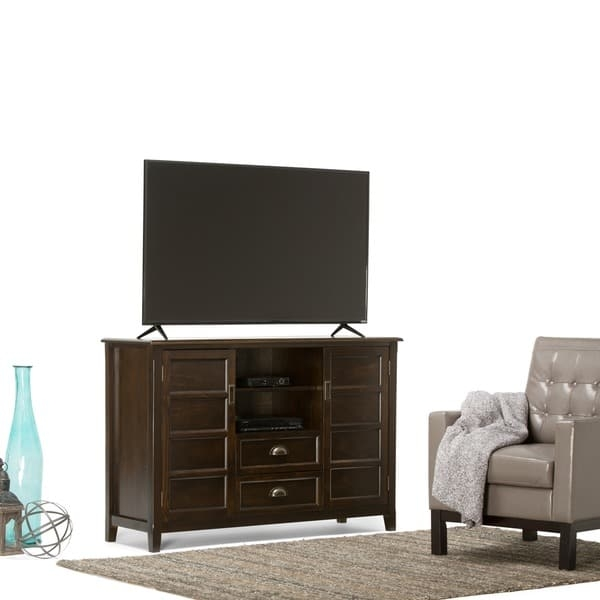 Fantastic New Expresso TV Stands Inside Wyndenhall Portland Collection Espresso Brown Tall Tv Stand For (View 41 of 50)