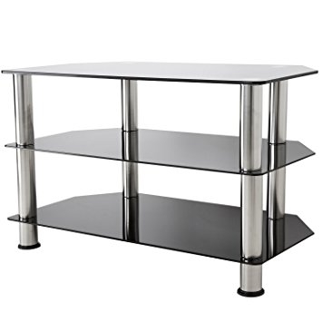Fantastic New Glass TV Stands Throughout Gloss Black Glass Tv Stand Silver Legs 3 Tier For Up To 42 Inch (View 23 of 50)