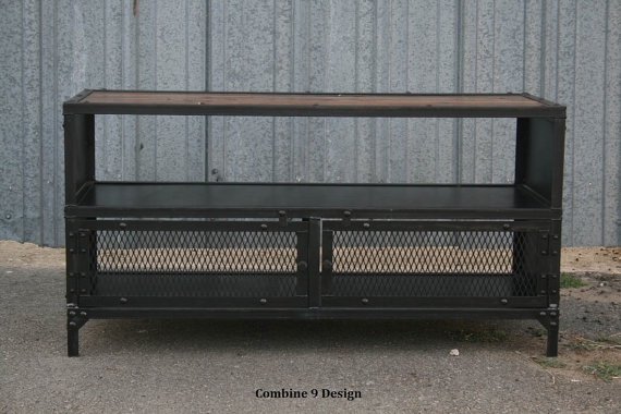 Fantastic New Industrial Metal TV Cabinets Within Vintage Industrial Tv Stand Reclaimed Wood Steel Mid (Image 18 of 50)