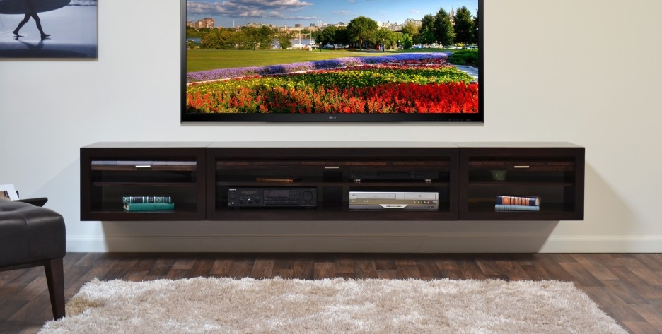 Fantastic New Long TV Cabinets Furniture Throughout Modern Wall Mounted Tv Stand Integrated With Two Tone Horizontal (View 42 of 50)