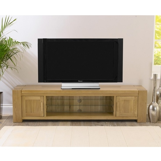 Fantastic New Wooden TV Stands In Carnell Wooden Tv Stand Rectangular In Solid Oak With  (Image 19 of 50)