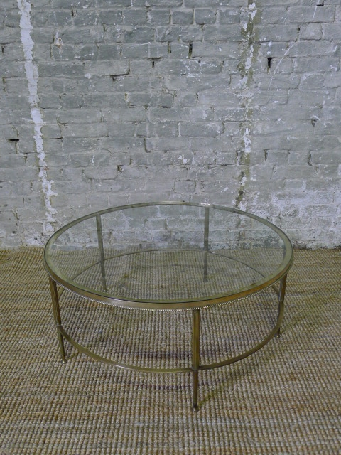 Fantastic Popular Antique Brass Glass Coffee Tables Regarding Circular Brass And Glass Coffee Table France C1950 In From (Image 15 of 50)