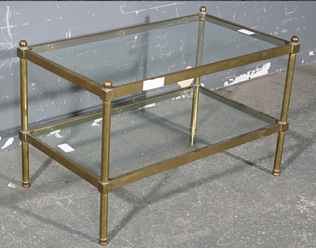 Fantastic Popular Antique Brass Glass Coffee Tables Within Rare Bagues Tubular Brass Glass Coffee Table Rare Size For Sale (Image 16 of 50)