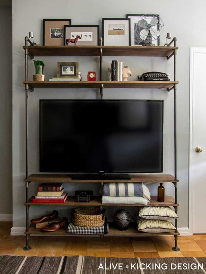 Fantastic Popular Bookshelf TV Stands Combo Within 50 Creative Diy Tv Stand Ideas For Your Room Interior Diy (Image 16 of 50)