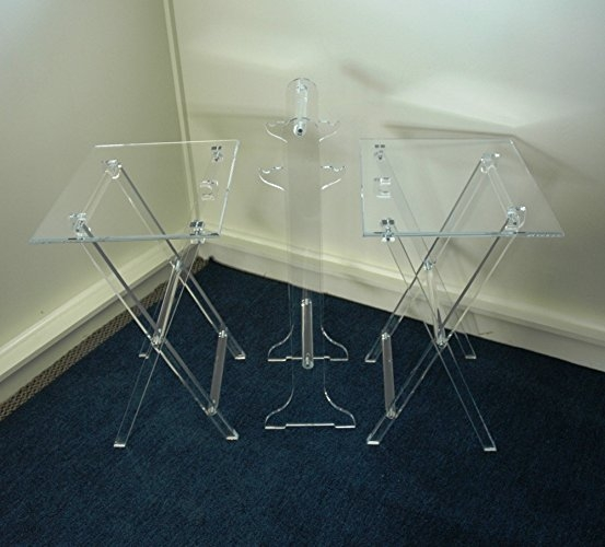 Fantastic Popular Clear Acrylic TV Stands For Amazon Clear Acrylic Lucite Set Of 2 Folding Tv Snack Trays (Image 21 of 50)