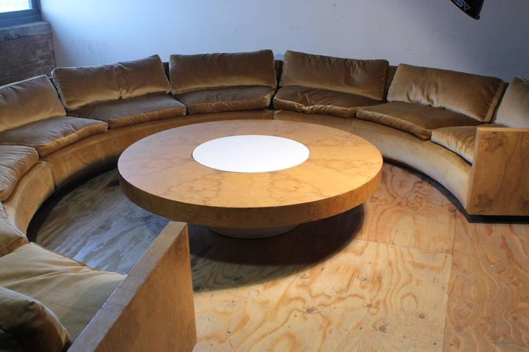 Fantastic Popular Curve Coffee Tables Within Vintage Milo Baughman Burled Curve Circle Sofa And Coffee Table At (Image 16 of 50)