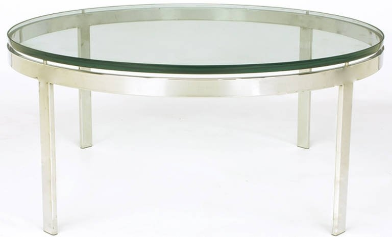 Fantastic Popular Floating Glass Coffee Tables Throughout Round Nickel Over Steel Floating Glass Coffee Table For Sale At (Image 17 of 50)