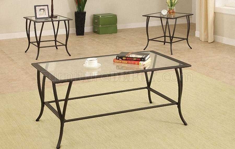 Fantastic Popular Glass And Black Metal Coffee Table Throughout Dark Metal Frame Contemporary 3pc Coffee Table Set Wglass Tops (Image 15 of 50)