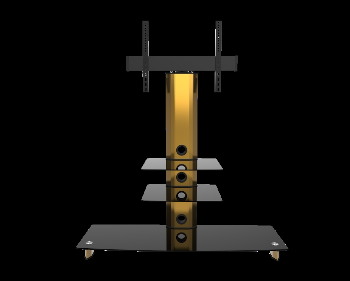 Fantastic Popular Gold TV Stands For Gold Black Glass Tv Stand Bracket Cantilever 3 Black Shelves (Image 21 of 50)
